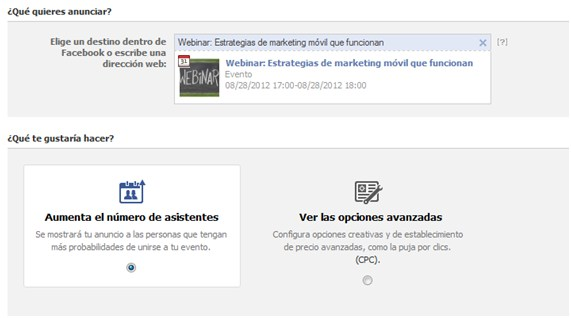 Patrocinio de Eventos en facbook